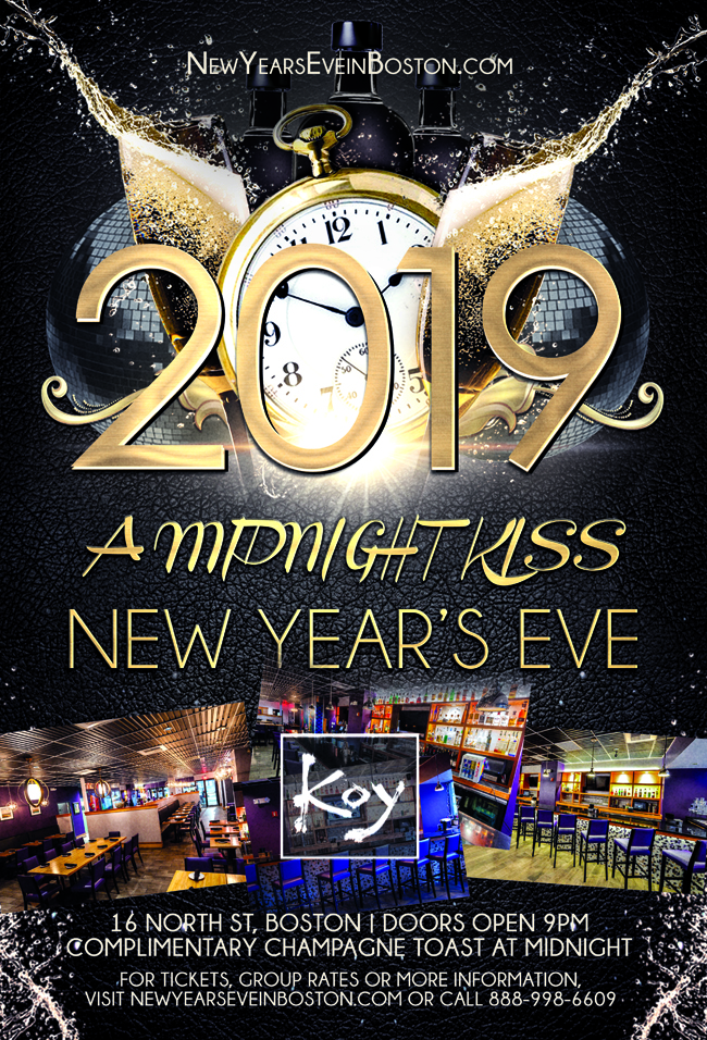 """4th Annual """"A Midnight Kiss"""" New Year's Eve at Koy"""