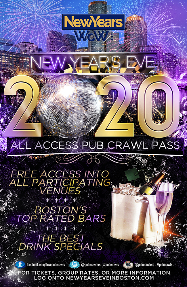 All Access Pub Crawl Party Pass New Year's Eve Boston