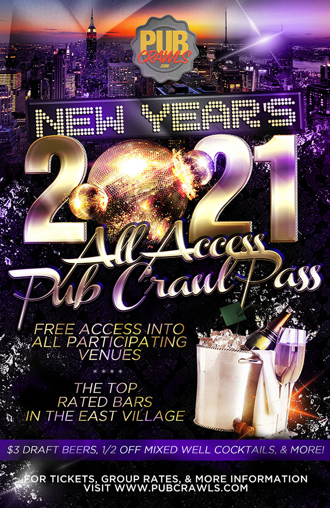 All Access NYE Pub Crawl Pass New York City