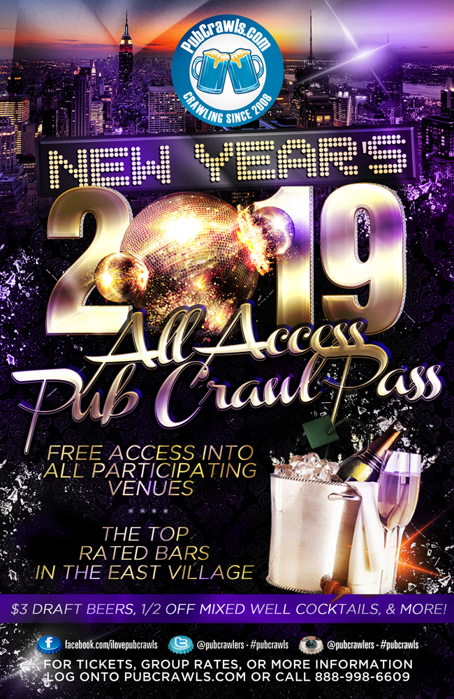 All Access Pub Crawl Pass New York City New Year's