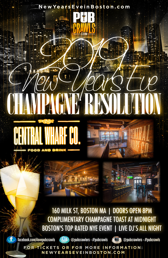 """""""Champagne Resolution"""" New Year's Eve at Central Wharf Boston"""