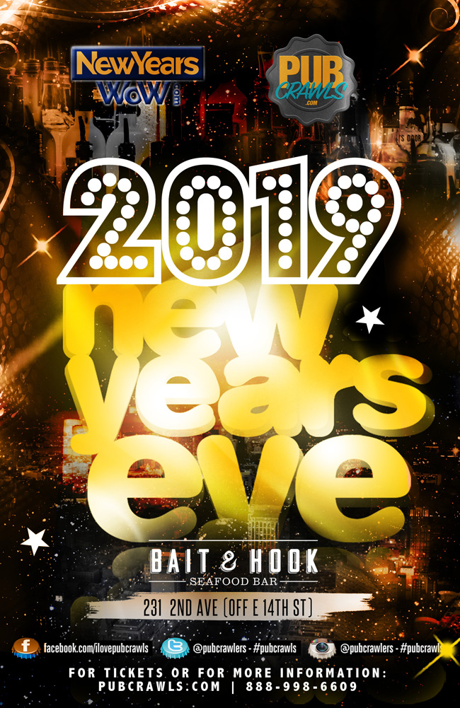 Bait & Hook NYC New Year's Eve (5 Hour Open Bar)