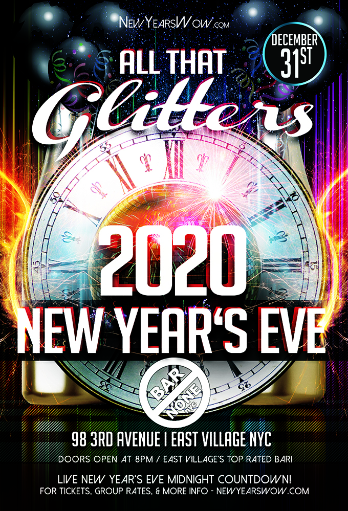 """All That Glitters"" New Year's Eve at Bar None NYC"