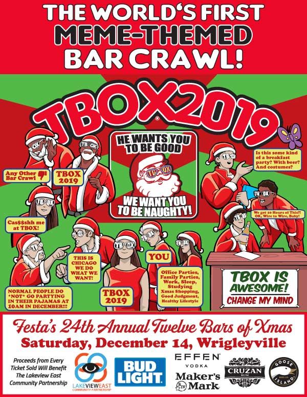 TBOX 2019 – Chicago's 24th Annual 12 Bars of Xmas Crawl